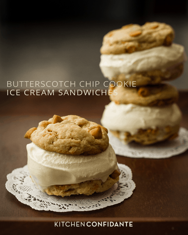 Butterscotch Chip Cookie Ice Cream Sandwiches | www.kitchenconfidante.com