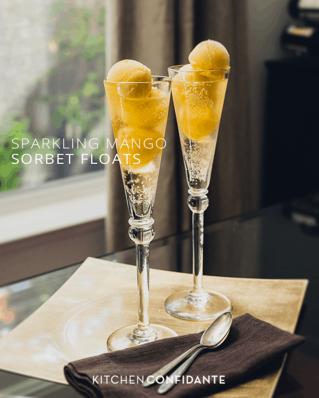 Sparkling Mango Sorbet Floats | Kitchen Confidante