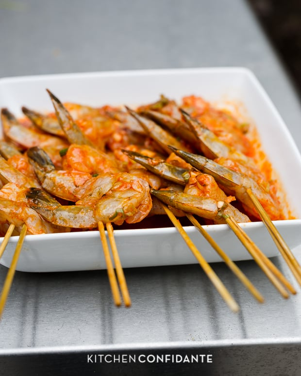 Thai-Curry Marinated Grilled Shrimp | www.kitchenconfidante.com | Ready to Grill