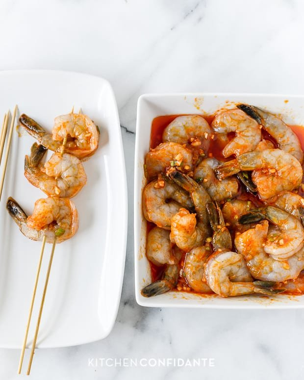 Thai-Curry Marinated Grilled Shrimp | www.kitchenconfidante.com | Skewered Shrimp