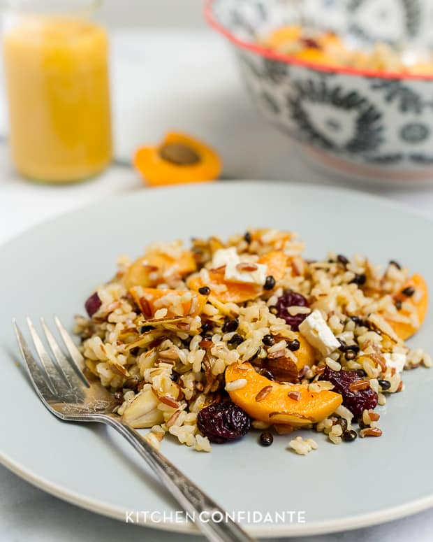 Wild Rice Salad with Apricots & Almonds and Apricot Dressing | www.kitchenconfidante.com