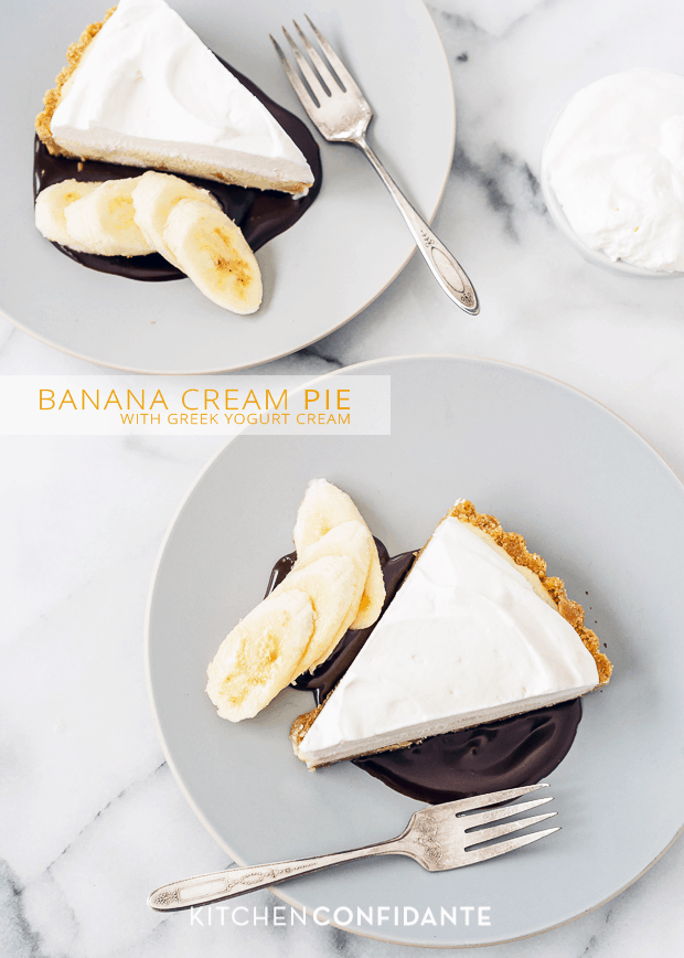 Banana Cream Pie with Greek Yogurt Cream | www.kitchenconfidante.com