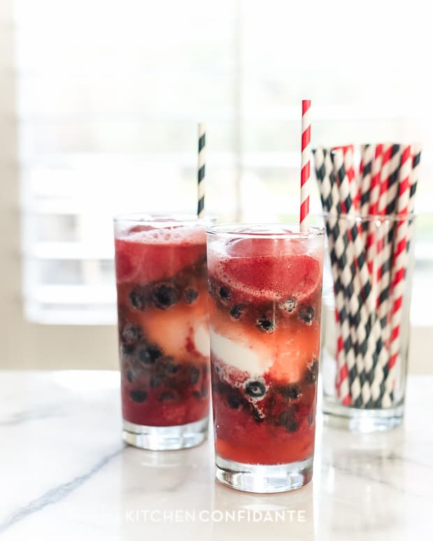 Red White and Blue Berry Sorbet Floats | www.kitchenconfidante.com | Floats