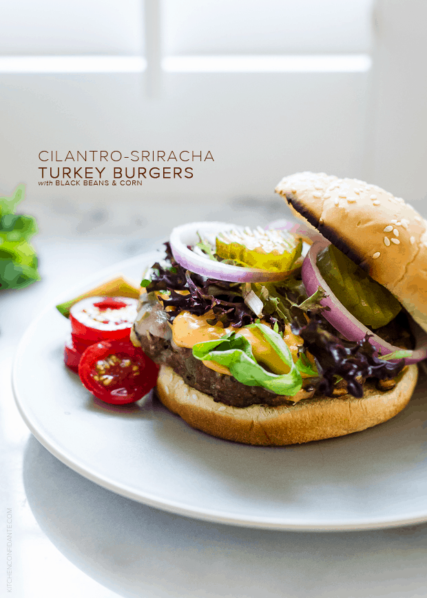 Cilantro-Sriracha Turkey Burgers | www.kitchenconfidante.com