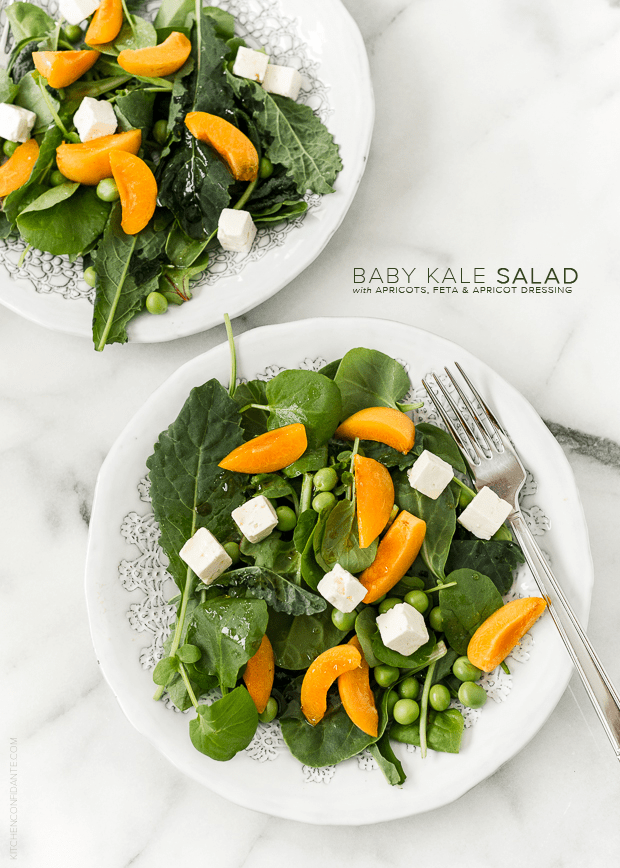 Baby Kale Salad with Apricots, Feta, and Apricot Dressing | www.kitchenconfidante.com
