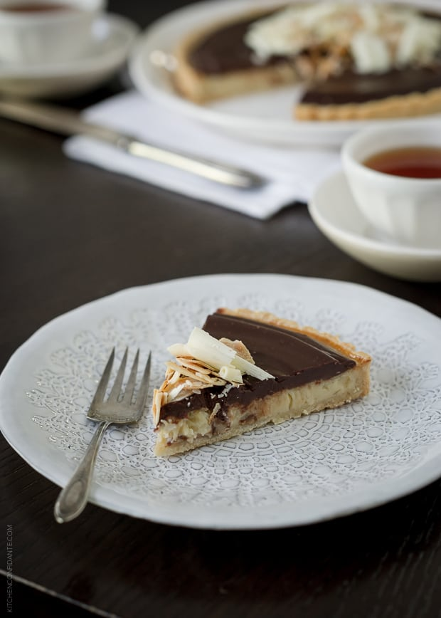 Coconut Custard Tart with Chocolate Ganache | www.kitchenconfidante.com