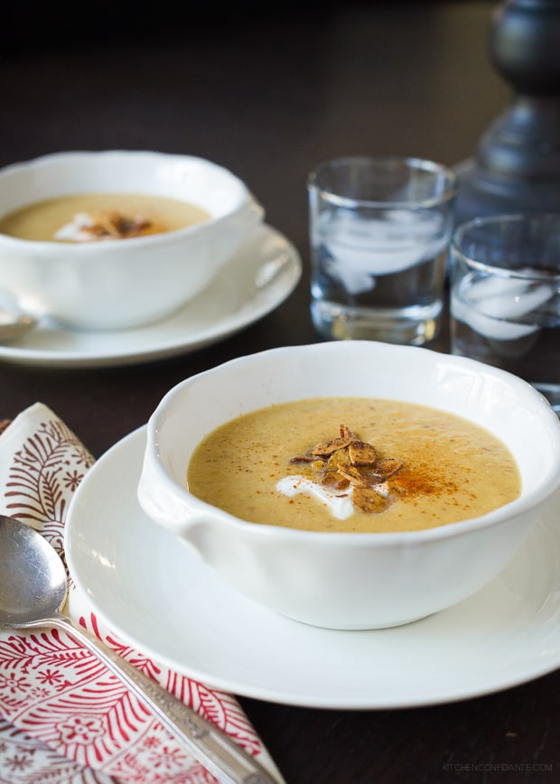 Toasted Almond Butternut Squash Soup | www.kitchenconfidante.com