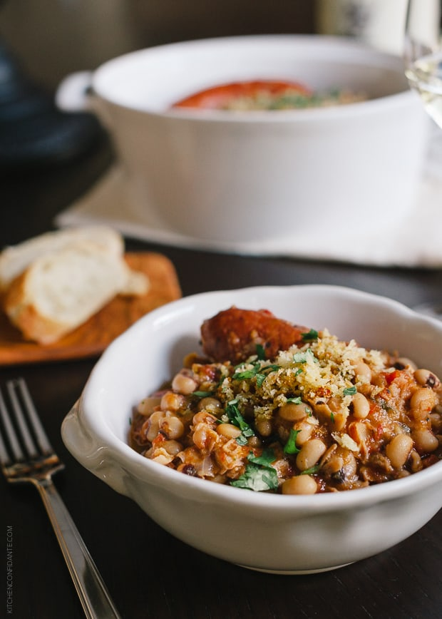 Black Eyed Pea Cassoulet - Cook it low and slow in a Dutch oven or slow cooker and you'll find that the longer it cooks, the better it tastes.