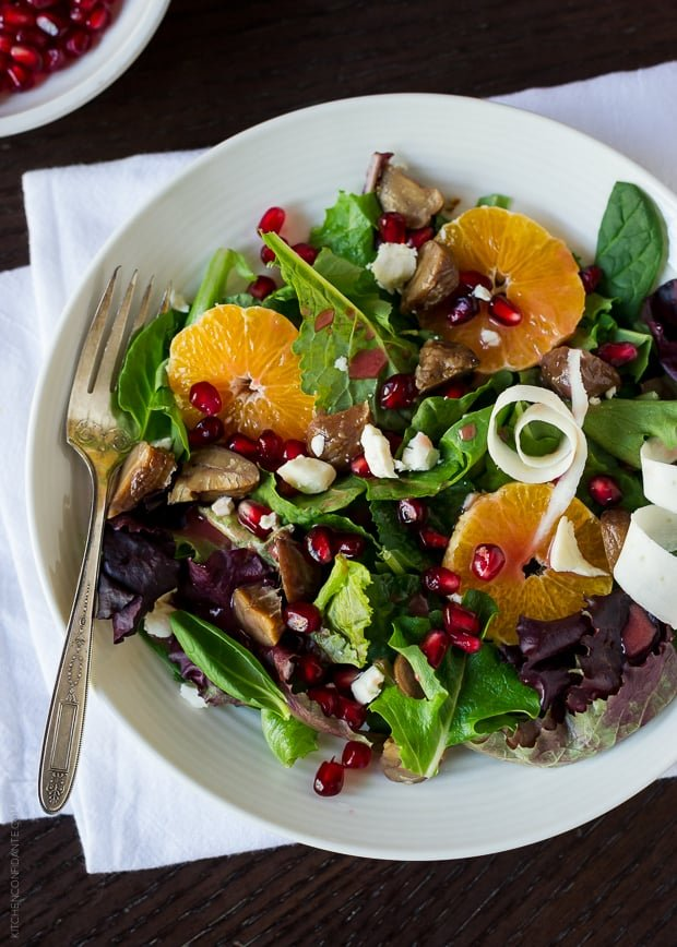 Chestnut Salad with Pomegranate Dressing | www.kitchenconfidante.com