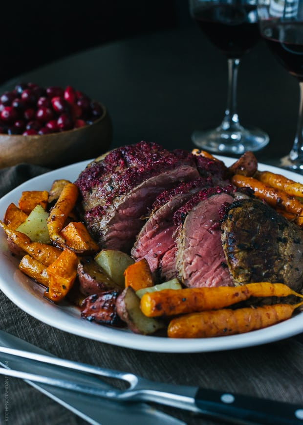 Cranberry Balsamic Crusted Chateaubriand | www.kitchenconfidante.com