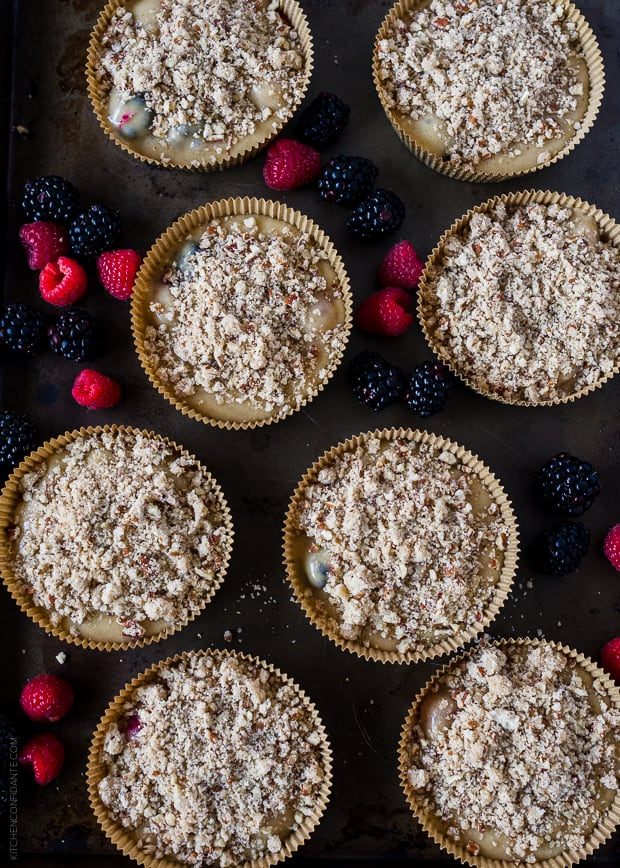 Mixed Berry Pecan Coffee Cakes | www.kitchenconfidante.com | Baking Tray
