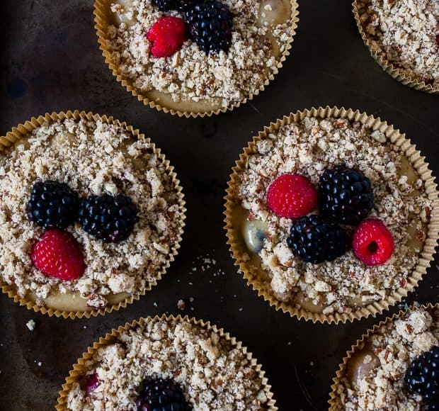 Mixed Berry Pecan Coffee Cakes | www.kitchenconfidante.com | Topped with Berries
