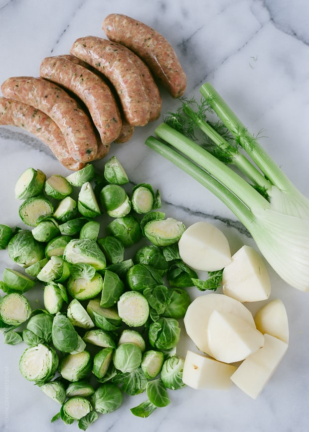 Roasted Chicken Sausages with Brussels Sprouts, Fennel and Potatoes | www.kitchenconfidante.com
