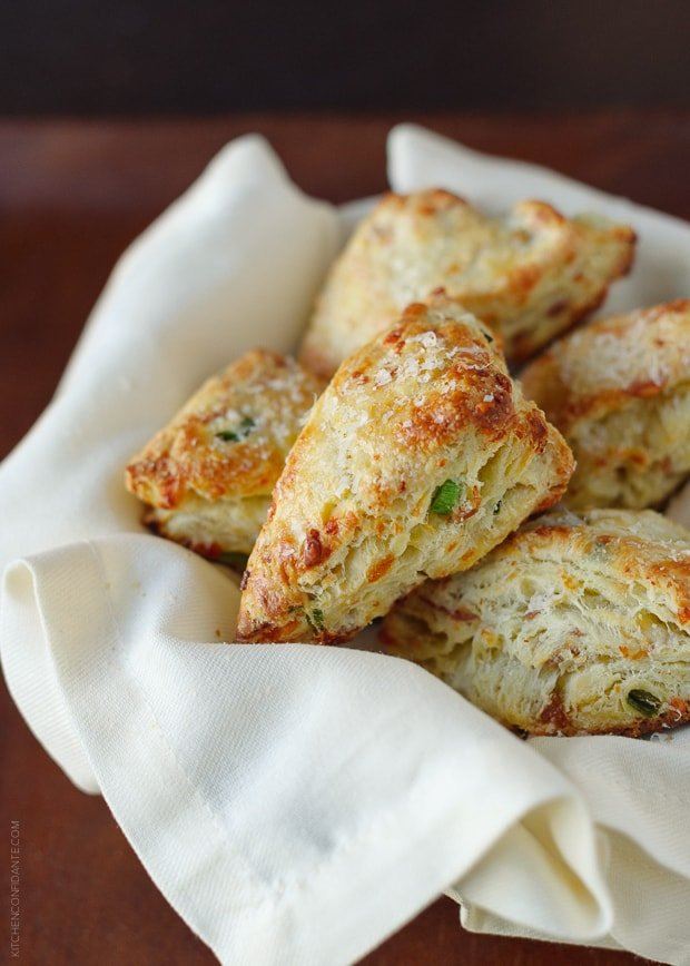 Savory Scones with Gruyere, Prosciutto and Green Onion | www.kitchenconfidante.com