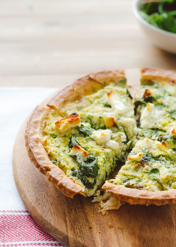 Brussels Sprouts and Baby Greens Feta Pie | www.kitchenconfidante.com
