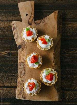Smoked Salmon Phyllo Bites with Wasabi Goat Cheese | www.kitchenconfidante.com
