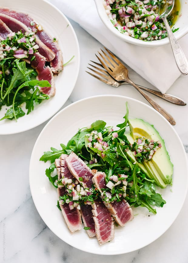 Seared Ahi Tuna with Chimichurri Sauce, Arugula and Avocado | www.kitchenconfidante.com