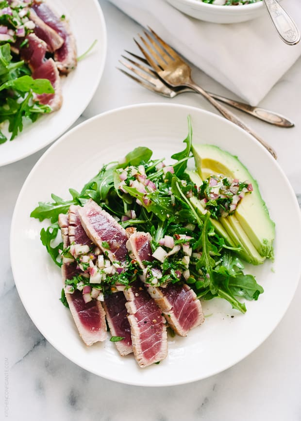 Seared Ahi Tuna with Chimichurri Sauce, Arugula and Avocado | Kitchen ...