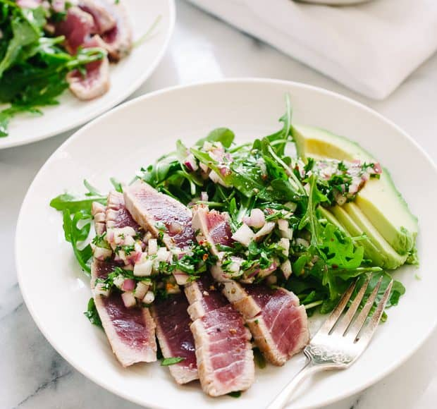 Seared Ahi Tuna with Chimichurri Sauce | www.kitchenconfidante.com