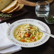 Chicken and Herb Spaetzle Soup | www.kitchenconfidante.com | Nourish your family with a bowl of soup.