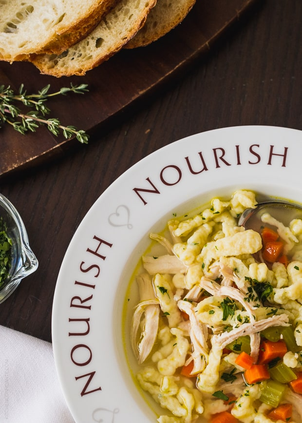 Chicken and Herb Spaetzle Soup | www.kitchenconfidante.com | Nourish by the spoonful.