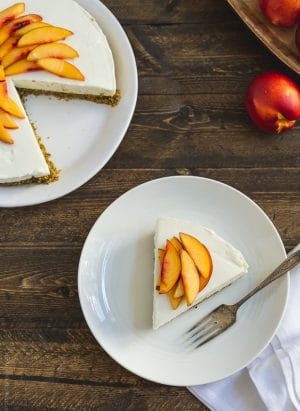 No-Bake Goat Cheese Cheesecake with Nectarine Compote | www.kitchenconfidante.com | When the summer heat rises, no-bake is the way to go!