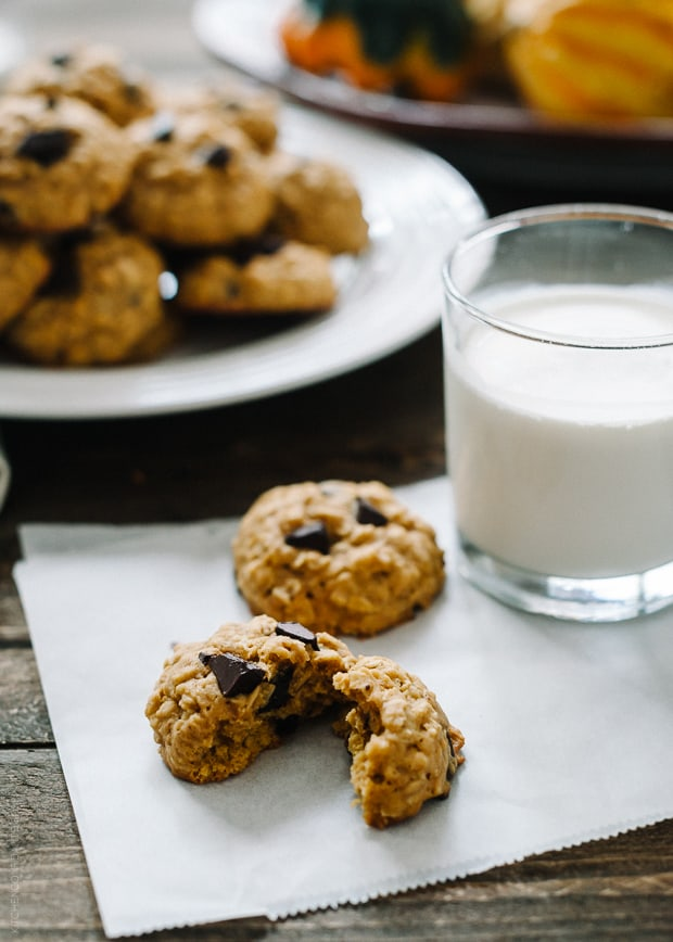 A Pumpkin Chocolate Chip Oatmeal Cookie split in half surrounded by more cookies and a glass of milk.
