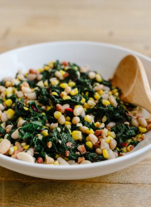Swiss Chard with Pancetta, Corn and Cannelini Beans | www.kitchenconfidante.com | A wholesome and satisfying side dish!