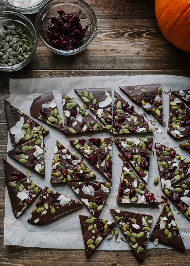 3 Tasty Takes on Pumpkin Seed Recipes | www.kitchenconfidante.com | Dark Chocolate Pumpkin Seed and Cranberry Bark