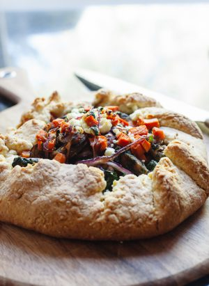 Savory Chicken Sausage and Vegetable Galette | www.kitchenconfidante.com | Fill a savory galette with veggies and sausage for a simply delicious dinner!