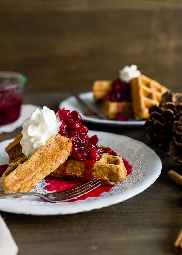 Gingerbread Belgian Waffles | www.kitchenconfidante.com | The perfect breakfast for Christmas morning!