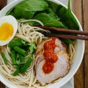 Harissa Ramen | www.kitchenconfidante.com | Homemade harissa adds heat and flavor to a comforting bowl of ramen!
