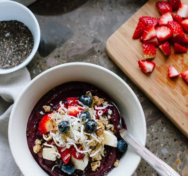 Acai Berry Bowl | www.kitchenconfidante.com | Superfoods collide in a bowl, perfect for breakfast, snack or dessert!