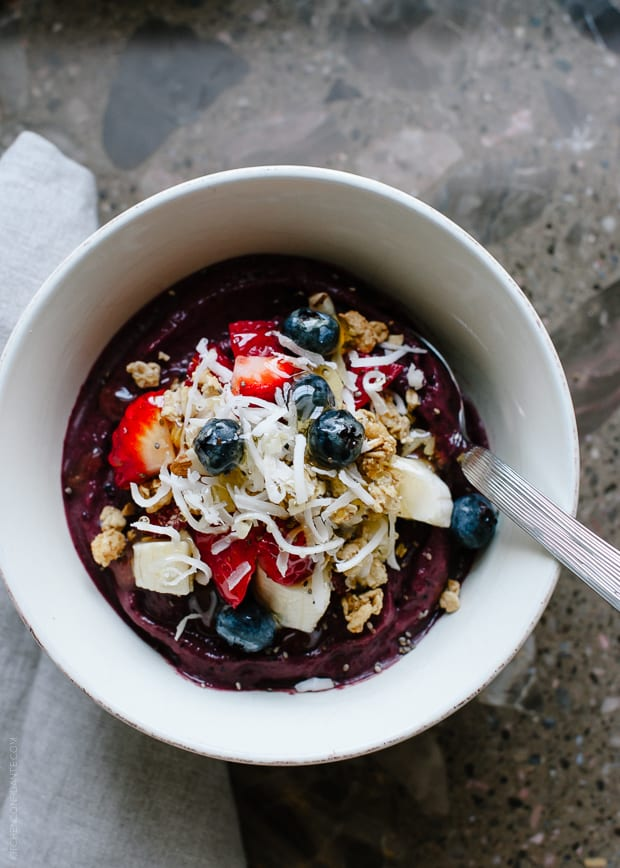 Acai Berry Bowl | www.kitchenconfidante.com | Perfect for breakfast, after a workout, or a quick pick me up!