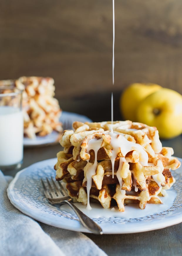 Apple Stuffed Belgian Waffles | www.kitchenconfidante.com | Tender Opal apples  enveloped in glazed Belgian waffles.