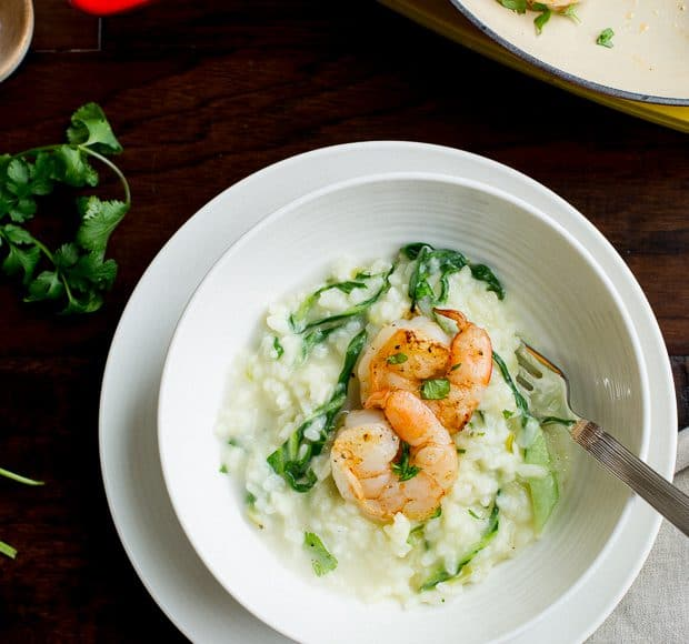 Bok Choy Risotto with Coconut Milk and Pan Seared Shrimp | www.kitchenconfidante.com | A light way to enjoy bok choy!
