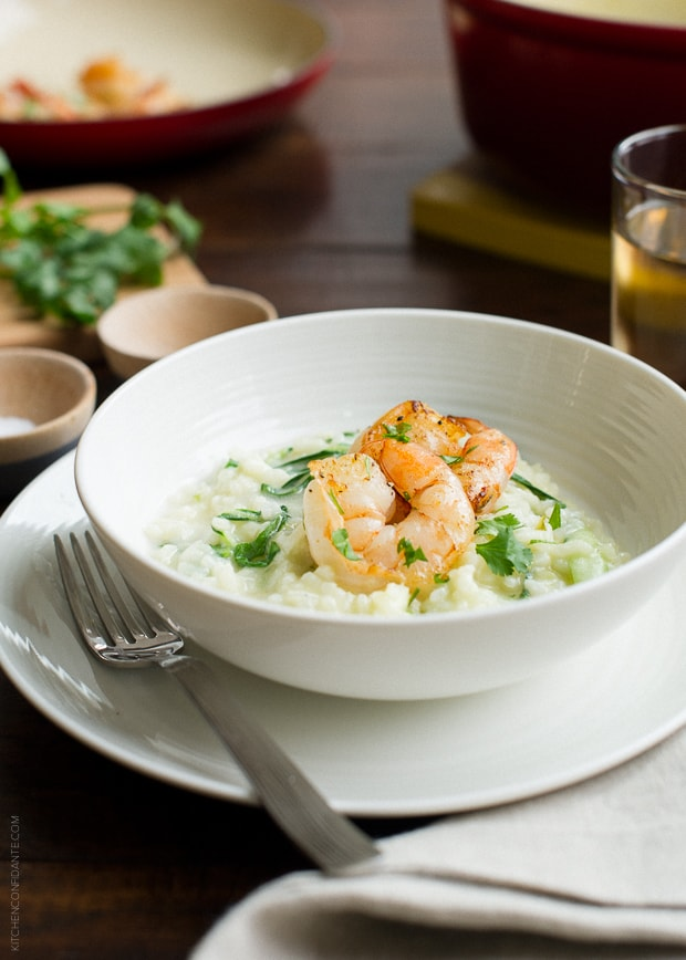 Bok Choy Risotto with Coconut Milk and Pan Seared Shrimp | www.kitchenconfidante.com