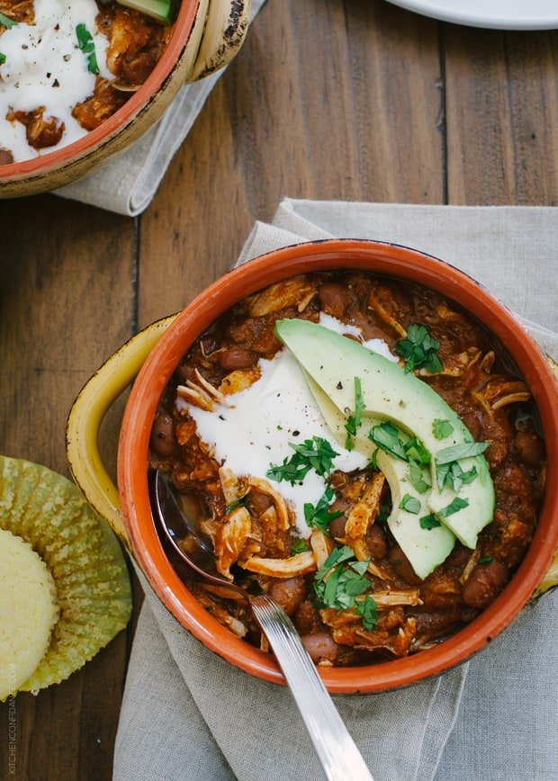 Chicken Chili | www.kitchenconfidante.com | A quick and tasty chili, perfect for weeknights.