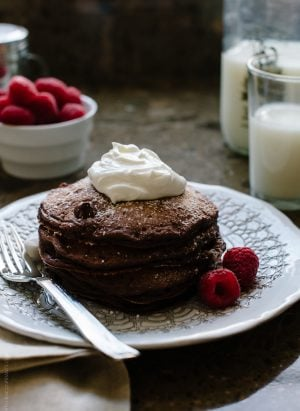 """Eggless Chocolate Pancakes 