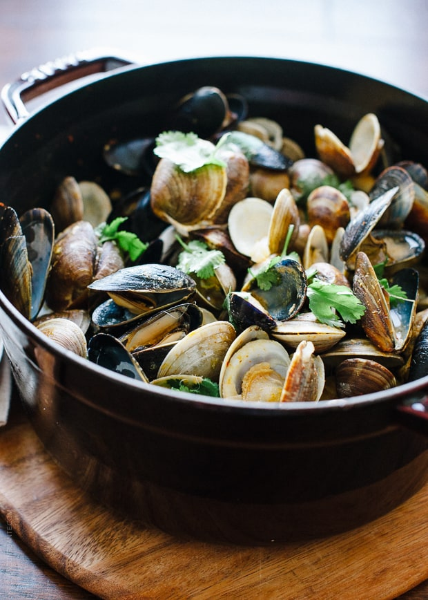 Steamed Clams and Mussels in Coconut Curry Broth | www.kitchenconfidante.com