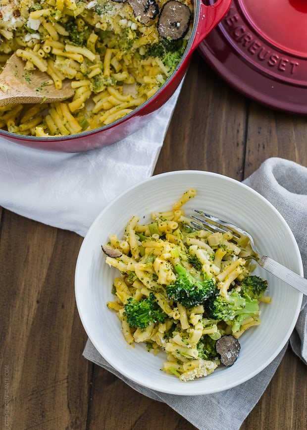 Truffled Mac and Cheese with Broccoli and Goat Cheese | www.kitchenconfidante.com | Jazz up mac and cheese with flavors both kids and grown ups love!
