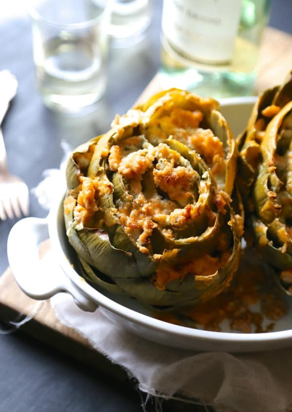 Baked Buffalo Chicken Stuffed Artichokes with Blue Cheese www.climbinggriermountain.com