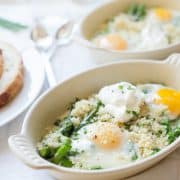 Baked Eggs with Asparagus and Peas | www.kitchenconfidante.com | Spring brunch just got sunnier.