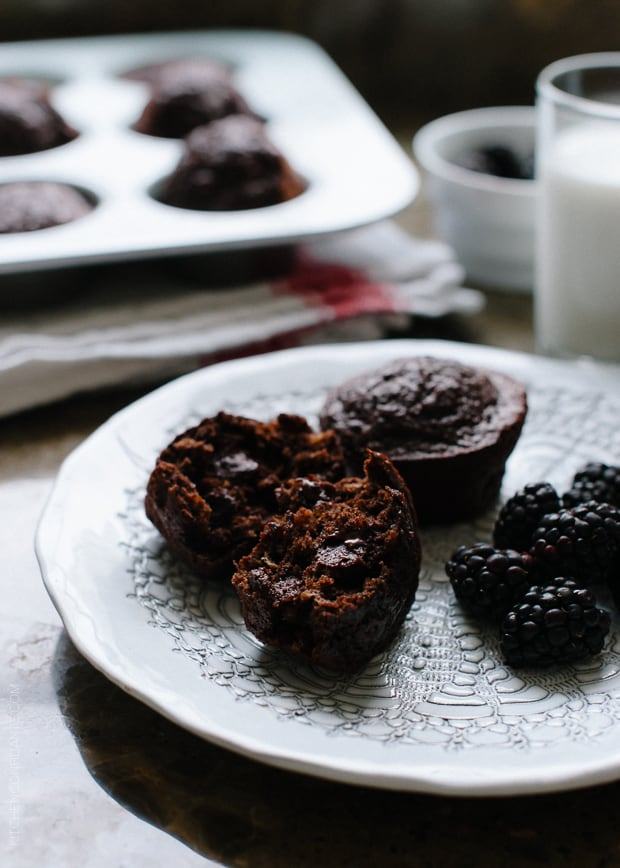 Chocolate Banana Quinoa Muffins | www.kitchenconfidante.com | Whether for breakfast or snack, these gluten free muffins are protein and antioxidant rich!