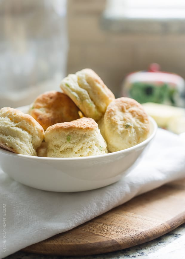 Boursin Garlic and Herb Buttermilk Biscuits | www.kitchenconfidante.com | Soft and creamy Boursin cheese makes these biscuits especially light and delicious.
