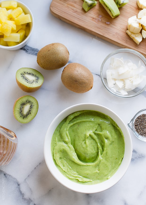 Green Smoothie Bowl | www.kitchenconfidante.com | Top this delicious bowl with all the goodies!