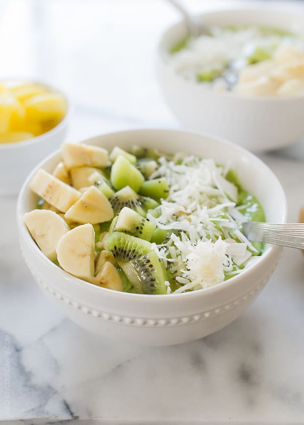 Green Smoothie Bowl | www.kitchenconfidante.com | Transform your favorite green smoothie into a hearty bowl!