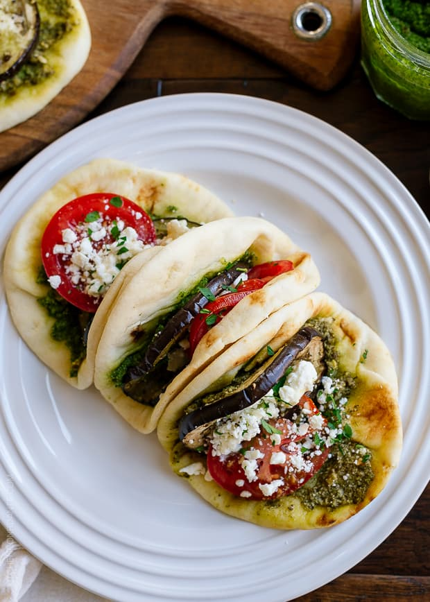 Roasted Eggplant, Tomato & Pesto Mini Naan | www.kitchenconfidante.com | Pack these in your picnic hamper - they are perfect for your next picnic!