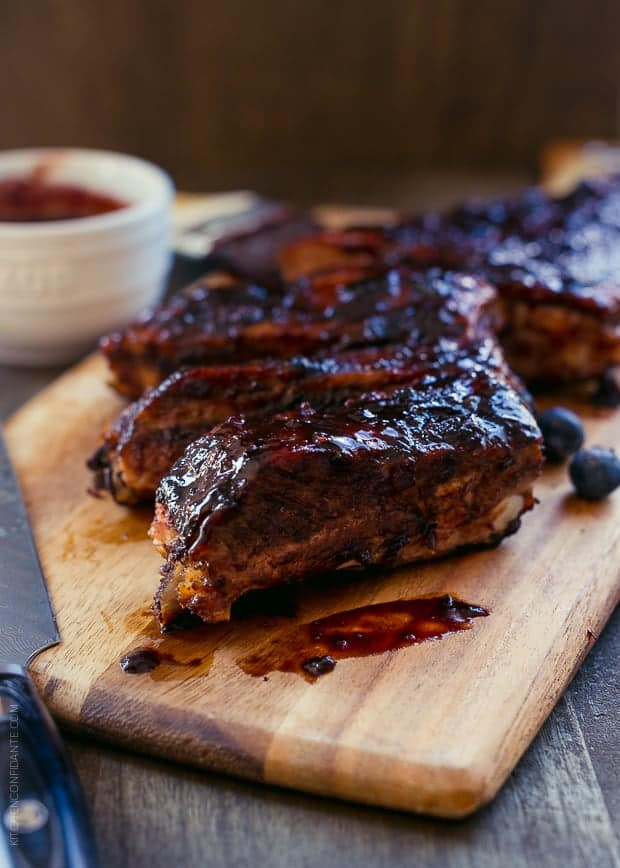Baby Back Ribs with Blueberry Balsamic Barbecue Sauce | www.kitchenconfidante.com | Ribs glazed with this spicy barbecue sauce will wow everyone at your next barbecue.
