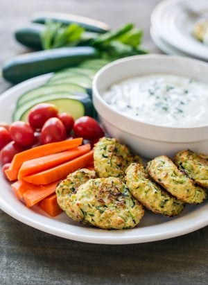 Baked Zucchini Fritters with Ranch Tzatziki | www.kitchenconfidante.com | These baked fritters are a great way to eat your veggies.